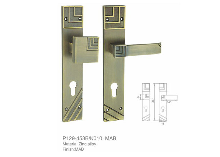 Window System Front Door Lever Handle Set Powder Coated Surface Treantment