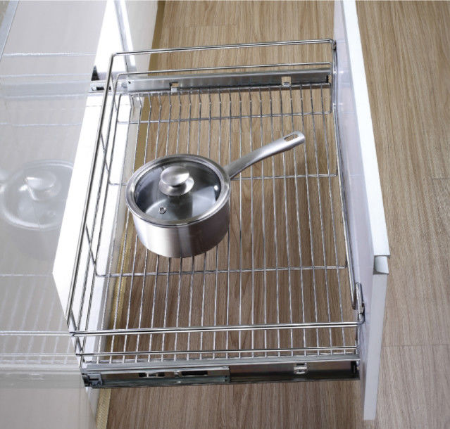 Stainless Steel Pull Out Wire Drawer Basket Modern Kitchen Decor Accessories