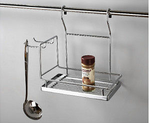Eco - Friendly Modern Kitchen Shelves Wall Hanging Spice Rack In Metal